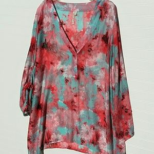 grand and greene tunic 2X pink green floral